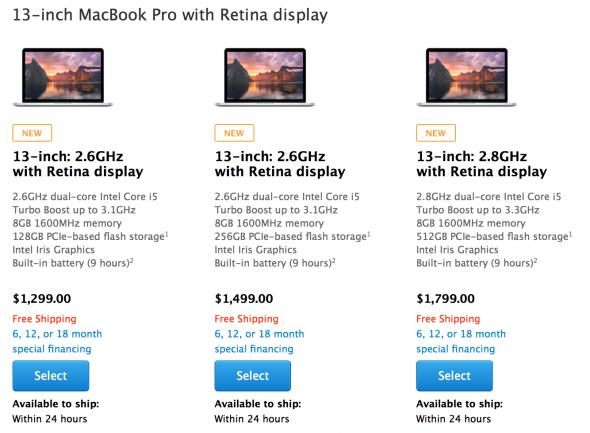 Νέα MacBook Pro Retina με ταχύτερους επεξεργαστές και μεγαλύτερη RAM