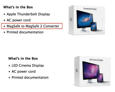 O MagSafe to MagSafe 2 adapter περιλαμβάνεται πλέον στη συσκευασία των Thunderbolt Displays