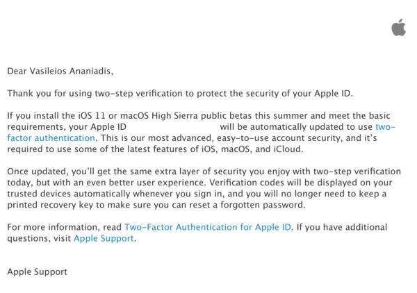 """Τα iOS 11 και macOS High Sierra public betas φέρνουν και το """"two-factor authentication"""""""