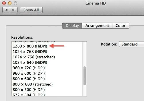 Retina οθόνες και HiDPI στο Lion