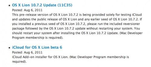 Διαθέσιμη η beta 2 του 10.7.2, beta 6 του iCloud