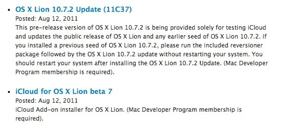 Διαθέσιμη η beta 3 του 10.7.2, beta 7 του iCloud