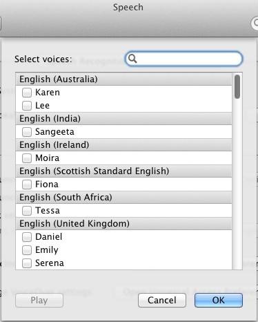 Ακούστε μερικές από τις φωνές στο Mac OS X Lion