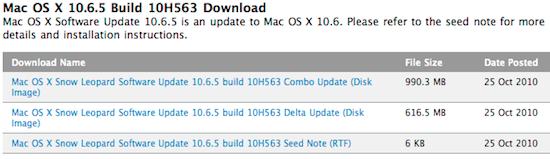 Διαθέσιμη η ένατη developer build για το Mac OS X 10.6.5