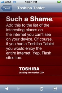 "H Toshiba την ""λέει"" στο iPad και την έλλειψη flash"