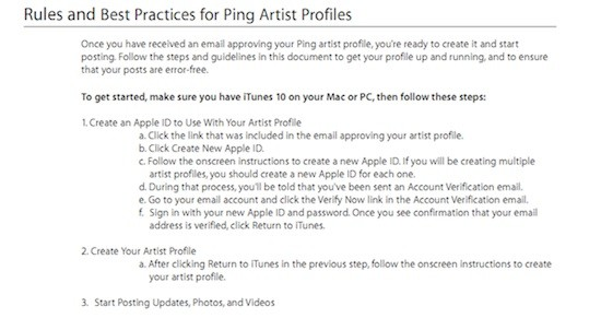 Οδηγίες δημιουργίας Ping προφίλ για καλλιτέχνες