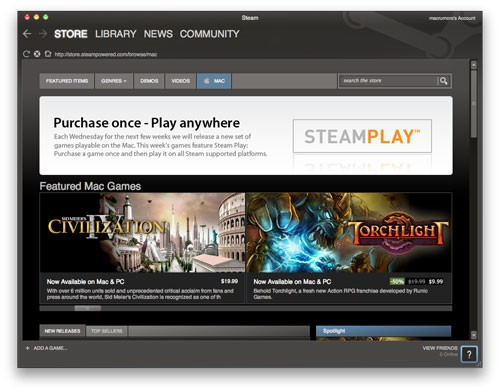 Valve Launches Steam For Mac!