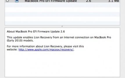 EFI Firmware Update για MacBook Air, iMac, MacBook Pro προσθέτει υποστήριξη Lion Internet Recovery στα μοντέλα του 2010
